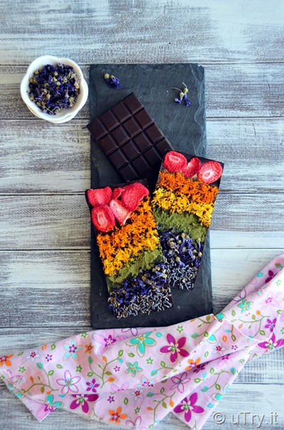 Check out how to make Rainbow Dark Chocolate Bars–Healthy and All Natural Toppings with video tutorial!  Perfect for St. Patrick's Day. Or, any day treat and edible homemade gifts!  http://uTry.it