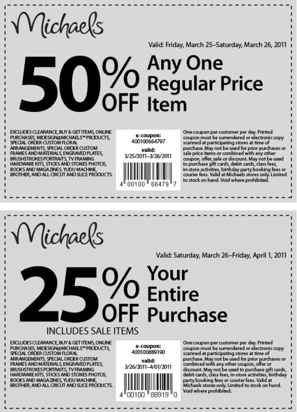 Coupons michaels canada