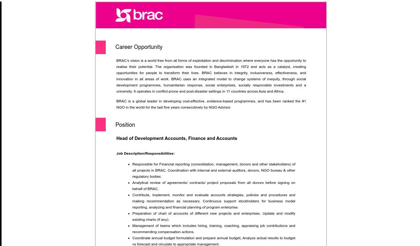 ব্র্যাক এনজিও নিয়োগ বিজ্ঞপ্তি ২০২১ -  BRAC NGO Job Circular 2021 - এনজিও চাকরির খবর ২০২১