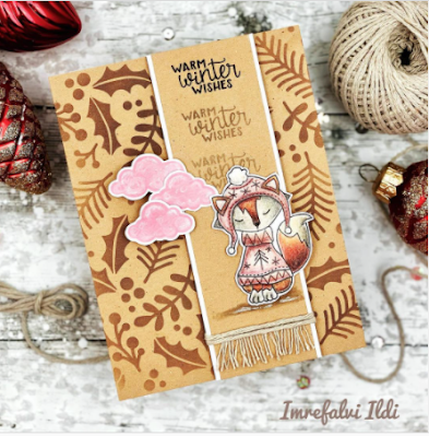 Warm winter wishes by Ildi features Sweater Weather and Holiday Foliage by Newton's Nook Designs; #newtonsnook, #winter, #cardmaking