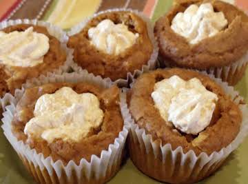 Pumpkin Muffins filled with Spiced Marshmallow Cream
