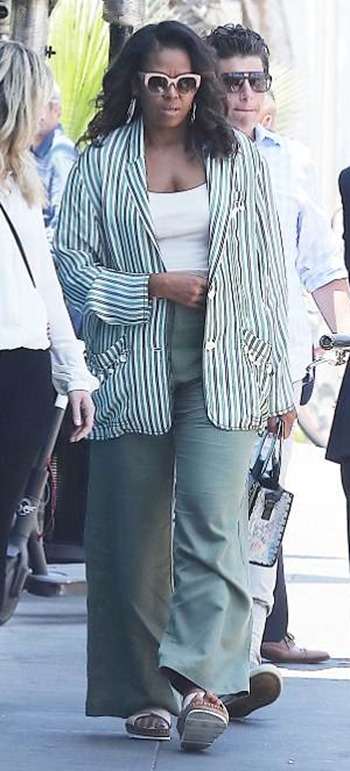 Michelle Obama traded workout clothes for a chic suit