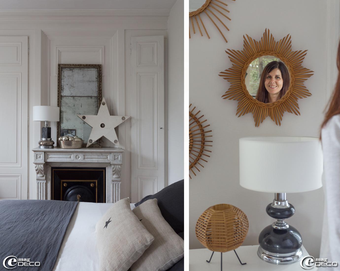 Coussin décoré d'une étoile au pochoir, créations Florence Bouvier
