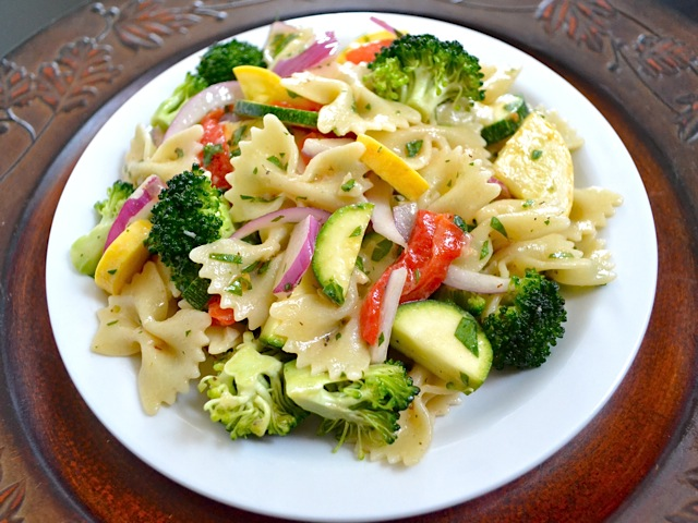 Summer Vegetable Pasta Salad on white plate