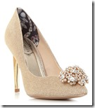 Ted Baker gold brooch trim court shoe