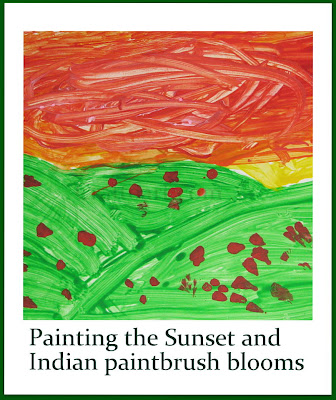 Painting the sunset and Indian Paintbrush blooms