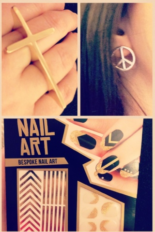 A series of images showing a cross ring, peace sign earings and nail art stickers