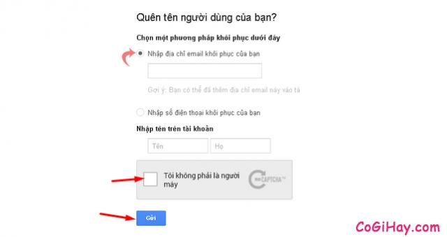 nhập email khôi phục gmail
