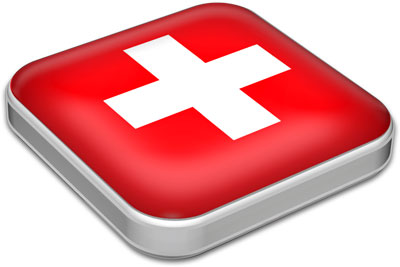 Flag of Switzerland with metallic square frame