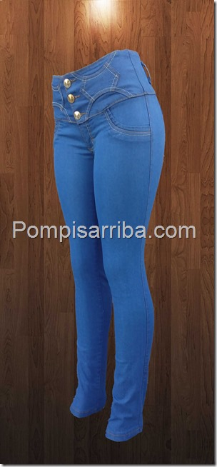 Jeans tono cielo mezclilla gruesa rombos
