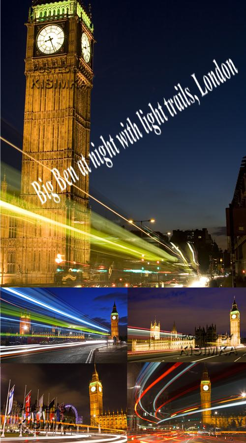Big Ben at night with light trails, London