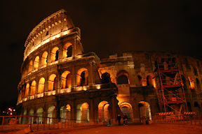 The Colosseum at night, from Piazza del Colosseo