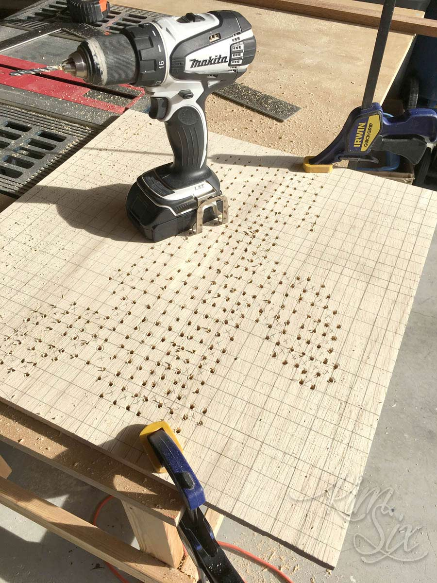 Drilling holes to embroidery board