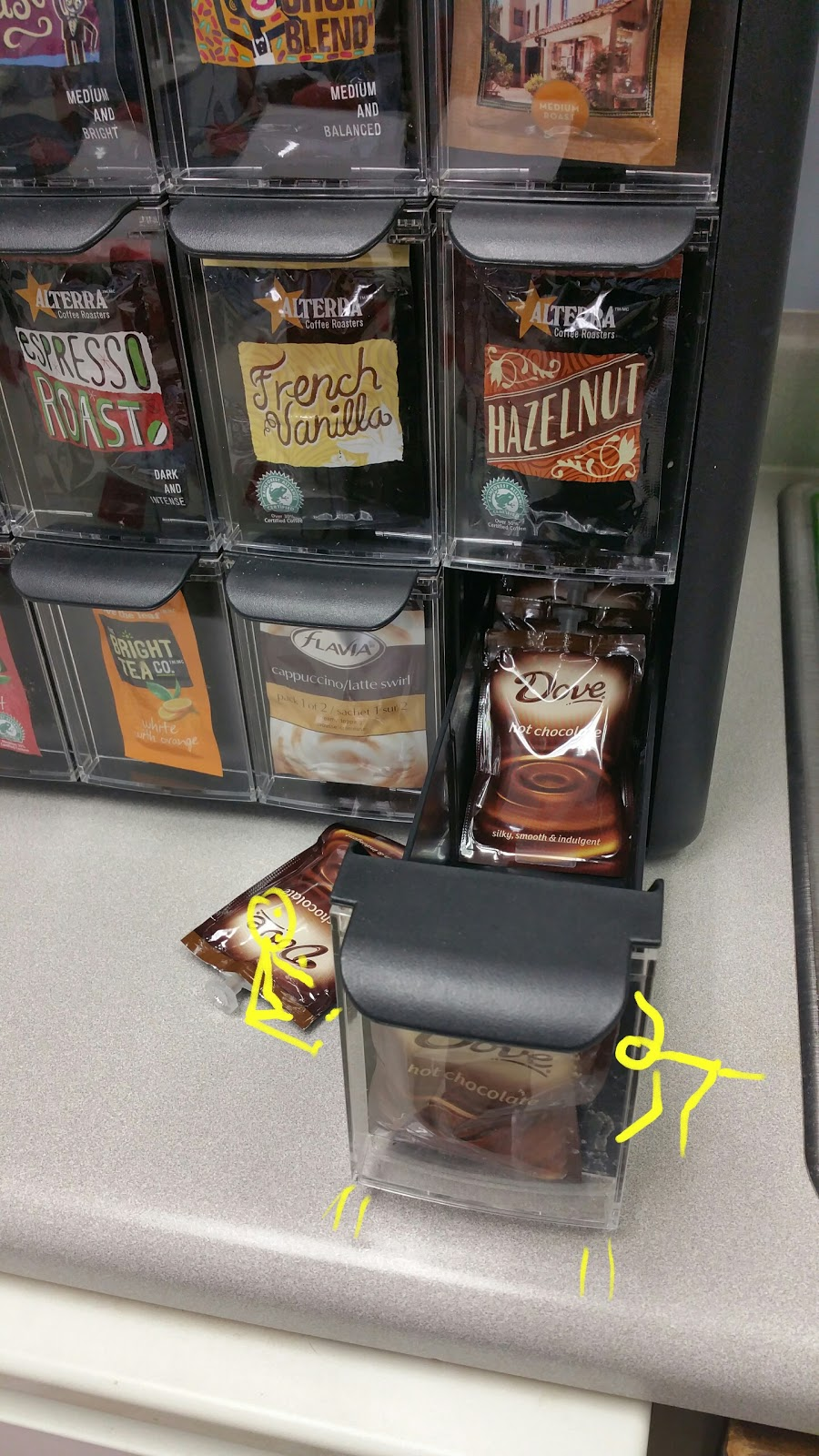 The #CoffeeSticks look to be OK maybe?  Look at the one close the drawer all by himself….