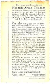 Bidprentje Doktor Hendrik Aren Thiadens - Gefusilleerd door terugtrekkende Duitse soldaten op 1 april 1945. De dag waarop Enschede werd bevrijd.