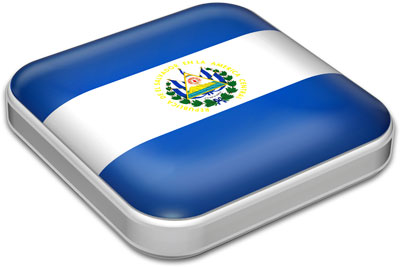 Flag of El Salvador with metallic square frame