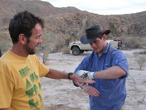 Chris with the tarantula hand off to Bob