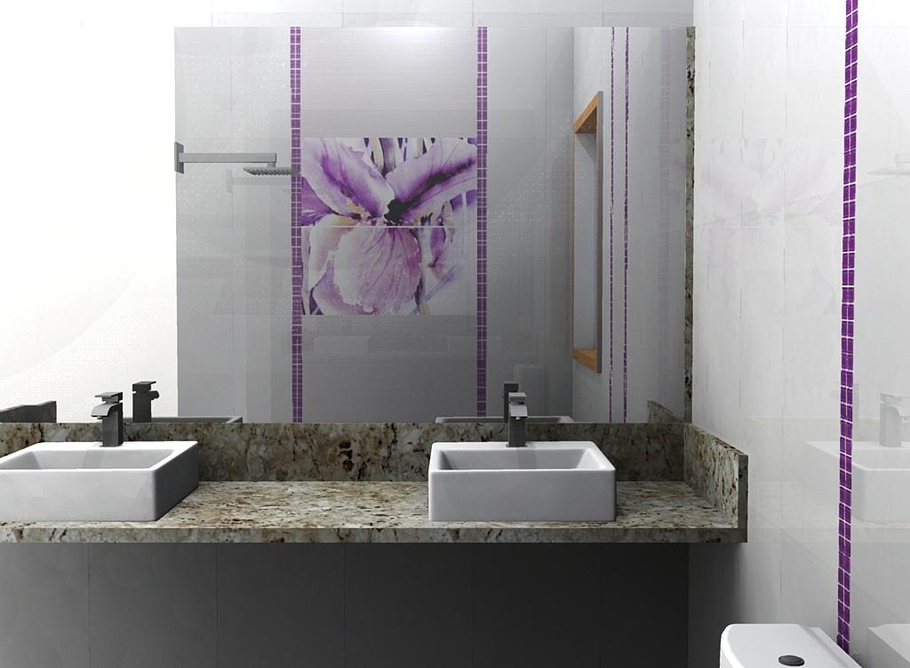Azulejo orquidea e pastilhas lilás no banheiro casal -> Banheiros Decorados Lilas
