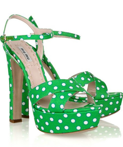 Miu Miu Green Polka Dot Sandals