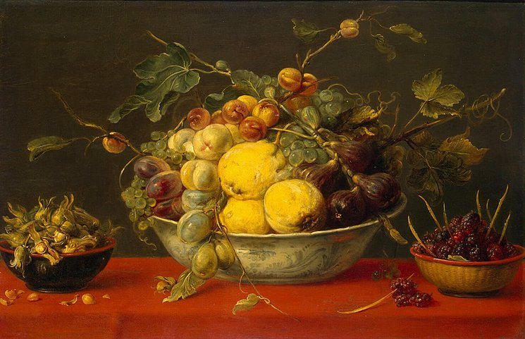Frans Snyders - Fruit in a Bowl on a Red Cloth