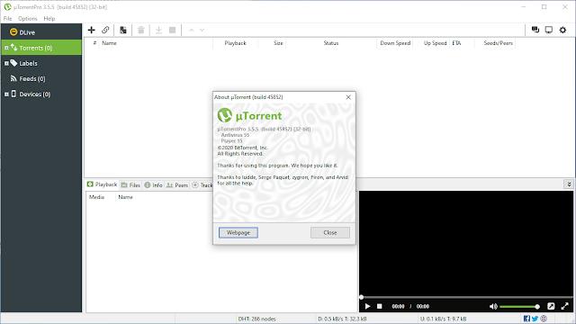 µTorrent Pro v3.5.5 Build 45852 + Crack Ativador