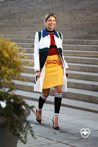 Helena Bordon; blogger; Prada coat; Prada top; Prada skirt; Louboutin shoes; Prada leg warmers;