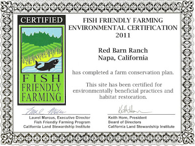 Red Barn Ranch Fish Friendly Farming Certificate