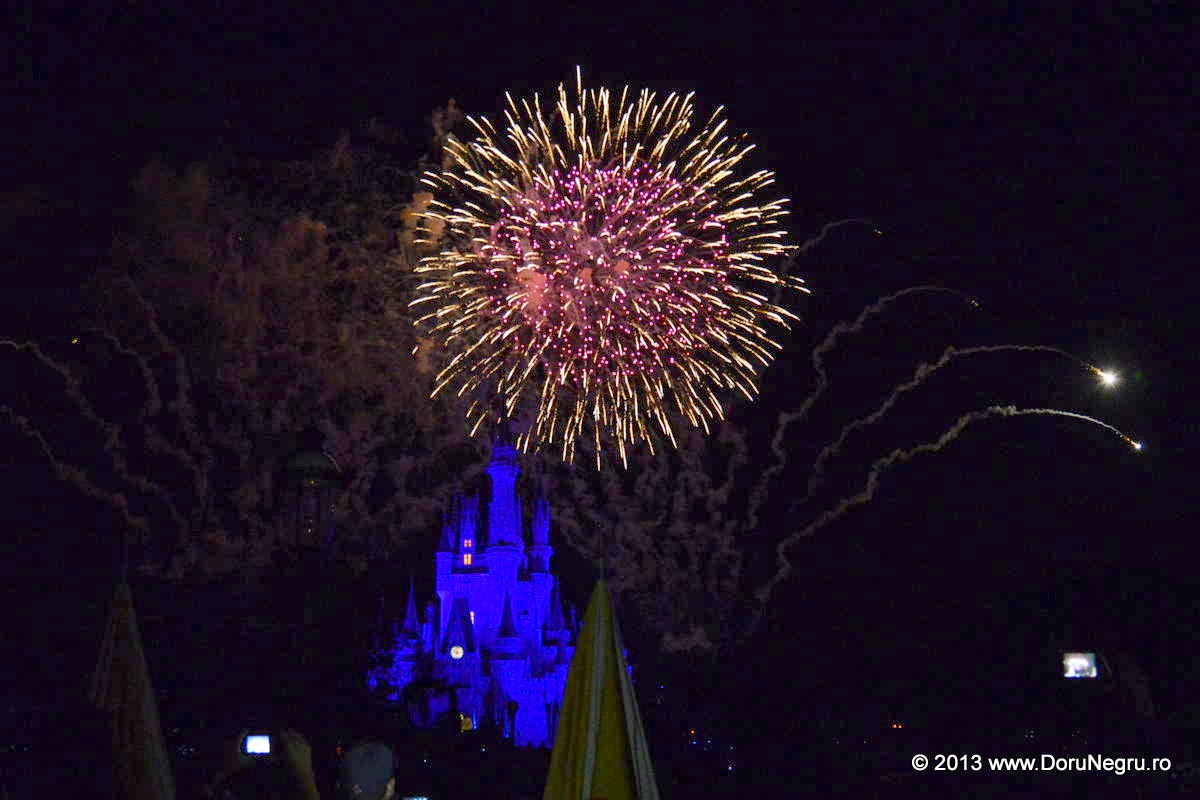 The fireworks above the castle end a magnificent day at Disney World, Orlando, FL