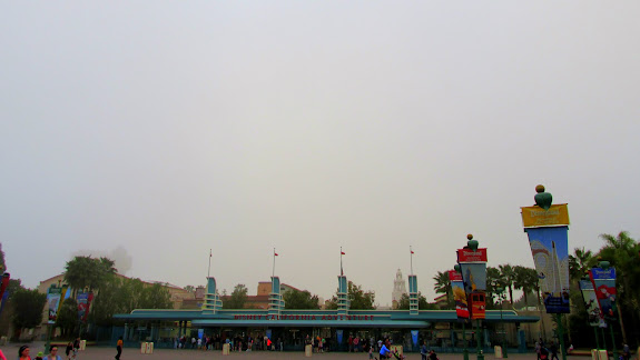 Foggy morning at the entrance to Disneyland