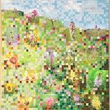 Le jardin des Orchidées Jocelyne Cathelineau piécé et quilté machine