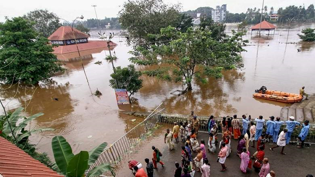 The view from a rooftop of the flooding in Kerala, India, 15 August 2018. Photo: PTI