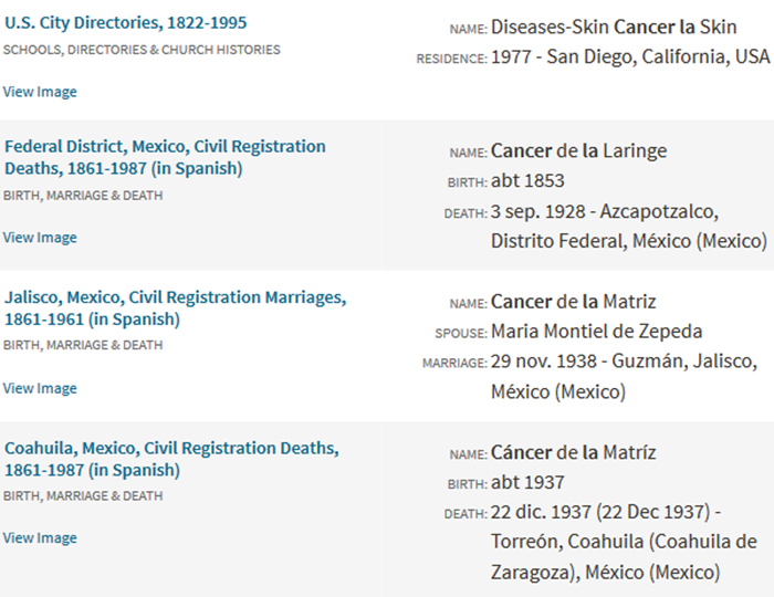 Search results for first name cancer, last name De La
