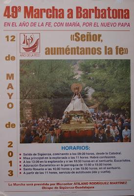 Cartel anunciador de la peregrinación a Barbatona en Mayo de 2013