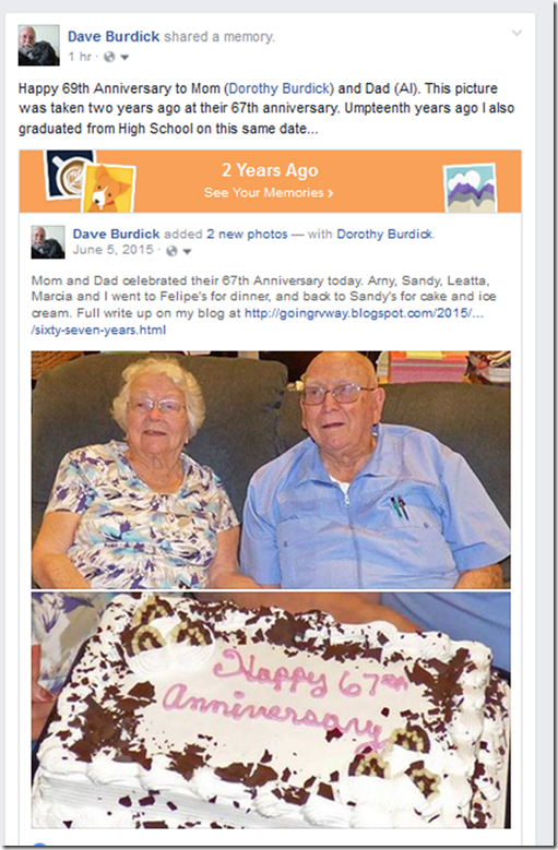 Mom and Dad's 69th Anniversary
