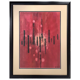 Signed Mid-Century Modern Abstract Watercolor Painting