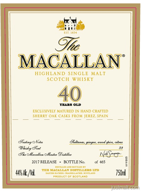 The Macallan 40-Year 2017 Release
