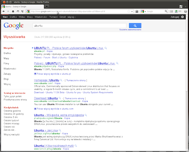 Poprawna strone google.pl