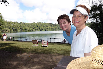 Photo: One of several crater lakes in the tablelands, this is Lake Eacham. No development, no homes, in an area of low population. Clear, clean water, no crocs but a bit chilly for us to swim.