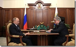 Vladimir Putin and Yaroslav Kuzminov. Meeting. Kremlin.