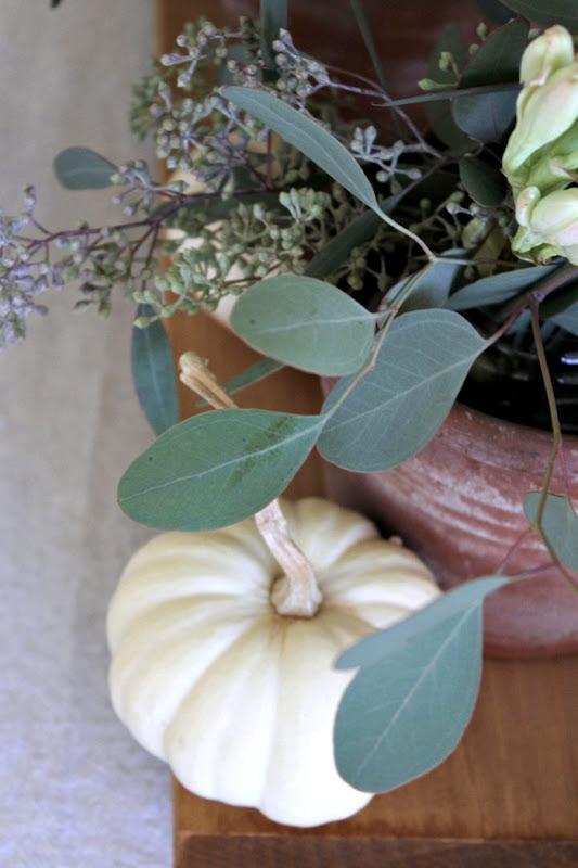 Fall Table Aged Terra Cotta & Eucalyptus