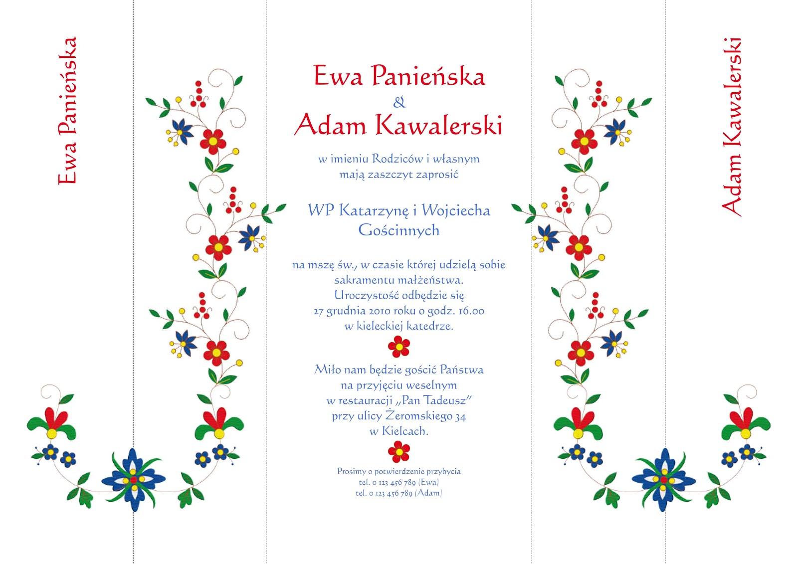 Zaproszenia Wydawnictwa Cedro I Synowie Zaproszenia Kaszubskie