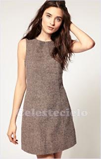Vestido básico de lana con corte princesa