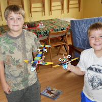 The boys built some lego planes.