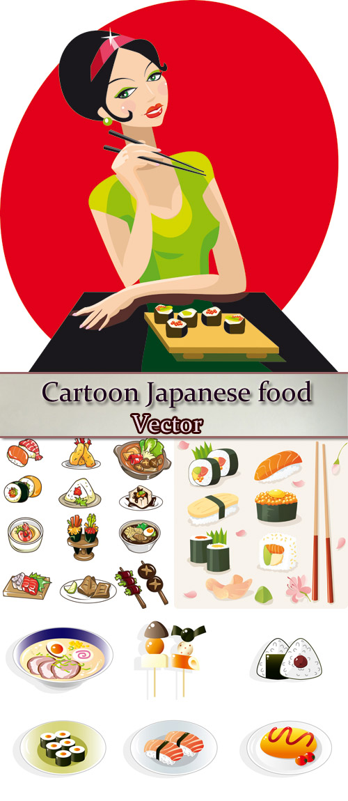 Stock: Cartoon Japanese food