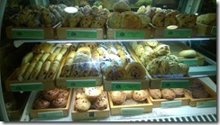 Cakes and slices in bakery display