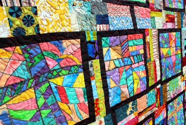 Stained Glass Quilt quilting