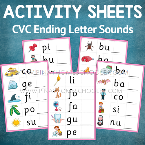 Ending Letter Sound Activity Sheets (Montessori Pink Series)