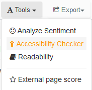 accessibility checker in webtexttool