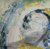 """Metall"", Acryl auf Holz, Metallgitter, Draht, 50x50, 2008"