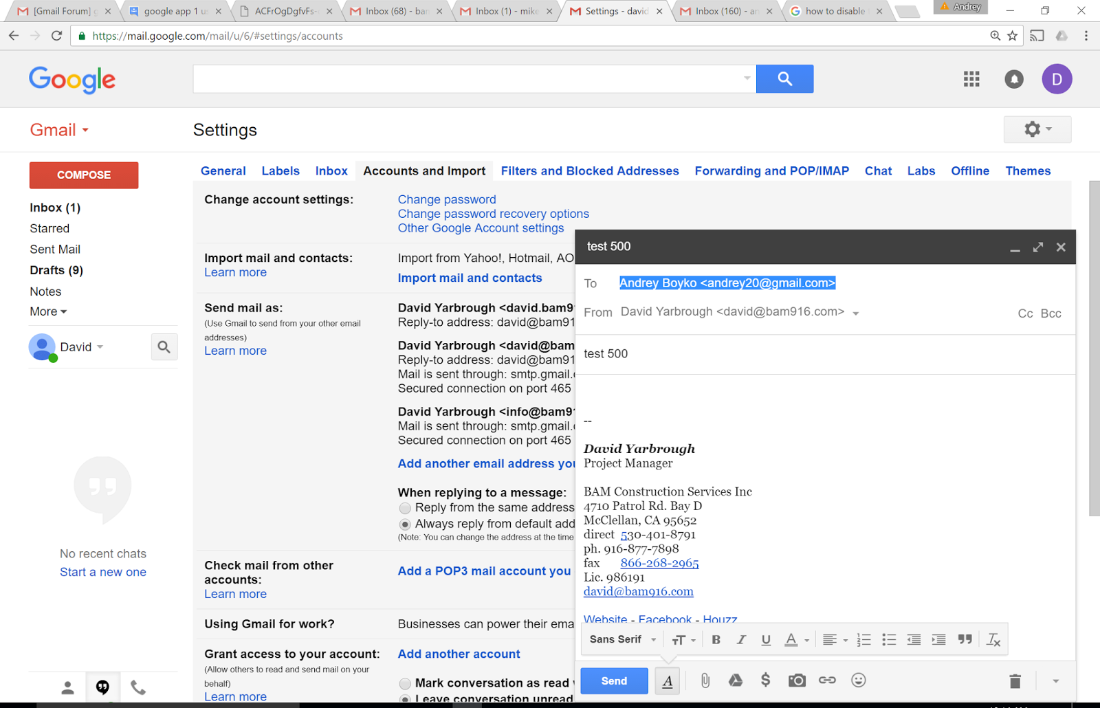 google app 1 user and multiple aliases, when send mal as